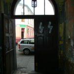 Graffiti in a building in the former Jewish ghetto, Podgorze, Krakow.
