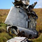Tail section of a crashed Gloster Meteor jet in the Peak District