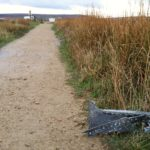 Fragment of debris on the path near the layby