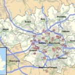 Map showing Heavy Anti-Aircraft Battery sites around Manchester