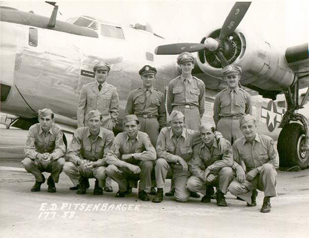 Crew of  B-24H 42-94841 'Sack Time!' beside B-24J, 95911 'Lucky Strike'