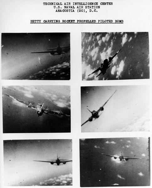 Mitsubishi_G4M2e_with_Okha_under_attack_1945