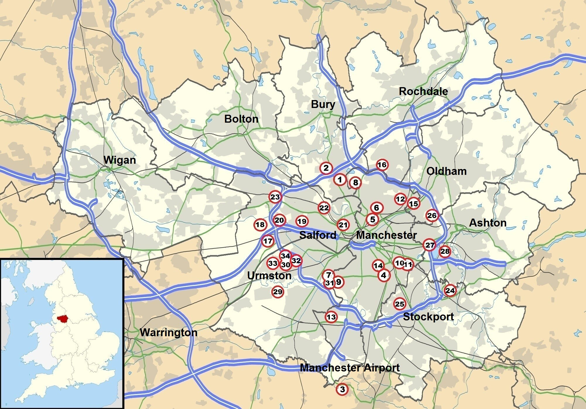 map showing heavy anti aircraft battery sites around manchester